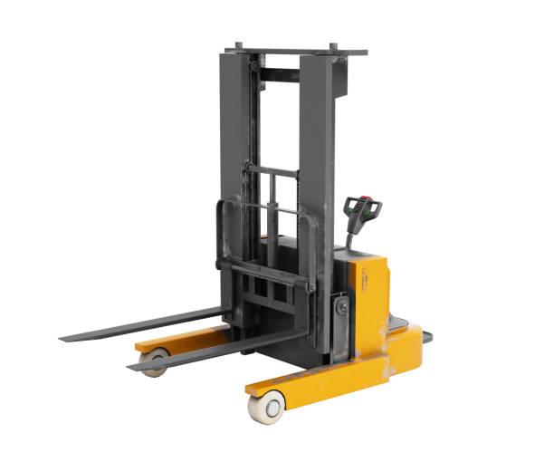 Forklift loader 3D render on white background no shadow stock photo