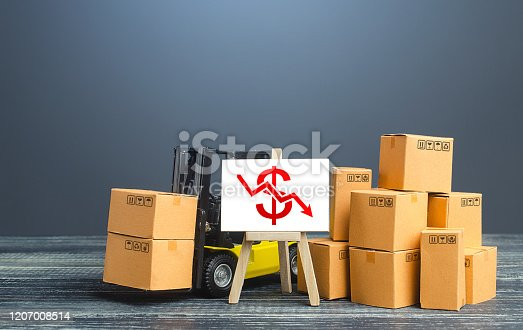 642250754 istock photo Forklift near boxes and easel with red dollar arrow down. Decline trade and production rates, decreased sales. Bad marketing, price reduction. Low import export. Economic reduced, industry degradation 1207008514
