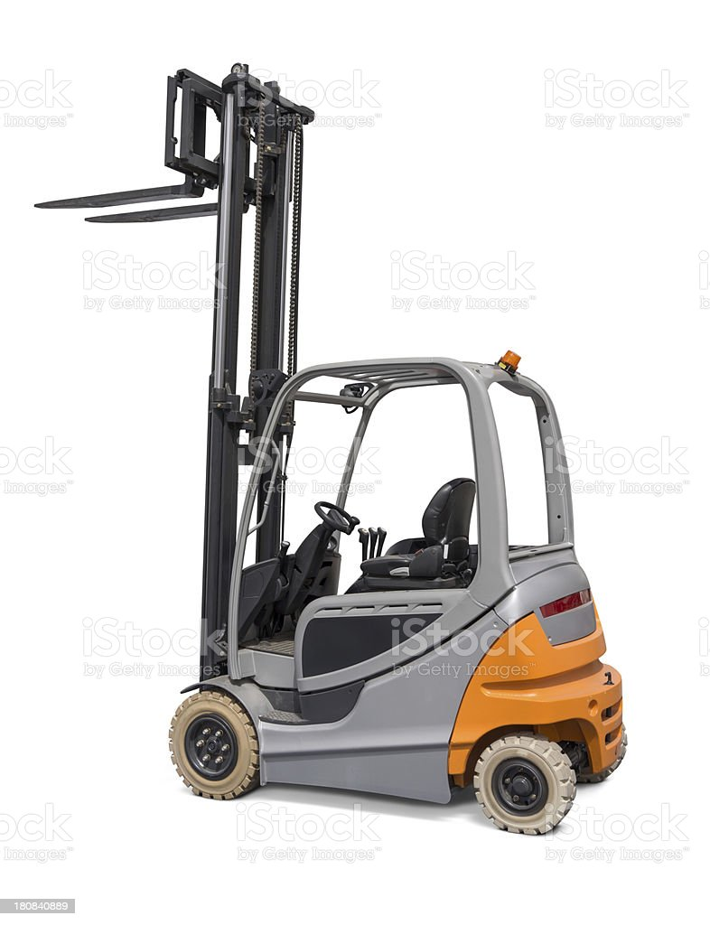 Forklift New and modern forklift truck, isolated on white background. Color Image Stock Photo