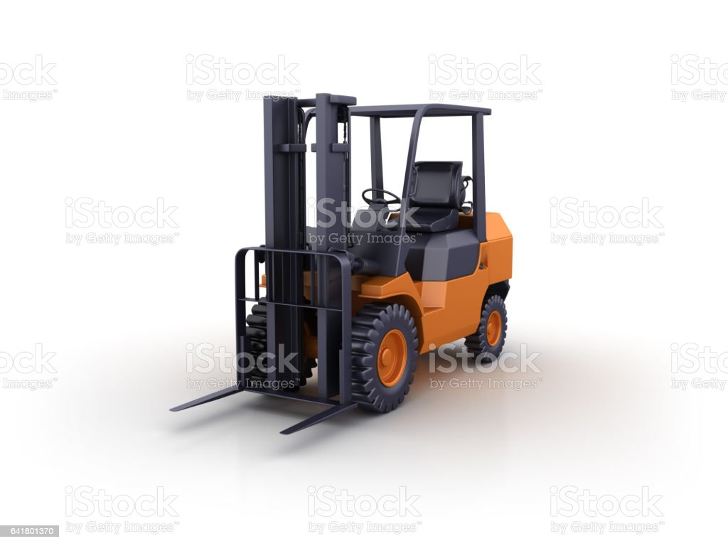Forklift Truck 3d Rendering Stock Photo - Download Image Now