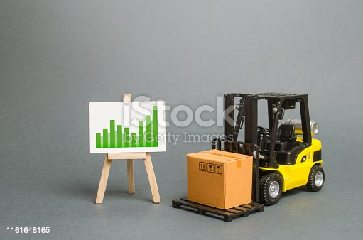 1155852718istockphoto forklift truck carries a cardboard box and a sign with a positive trend. Profit growth from sales and high production of goods. Retail, resale, sales of products. Growth and stability of the economy. 1161648165