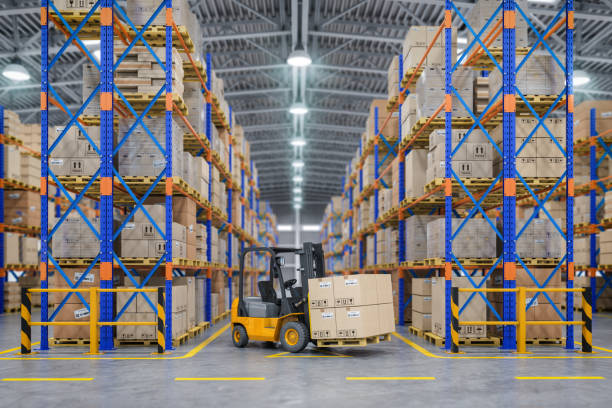 Forklift truck in warehouse or storage and shelves with cardboard boxes. Forklift truck in warehouse or storage and shelves with cardboard boxes. 3d illustration warehouse stock pictures, royalty-free photos & images