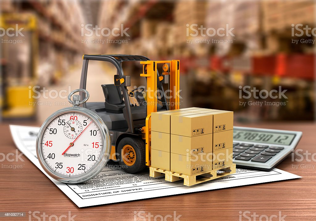 Forklift truck with boxes and stopwatch on the storage. stock photo