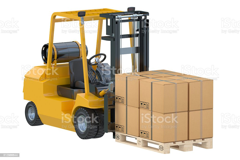Forklift truck with boxes on pallet stock photo