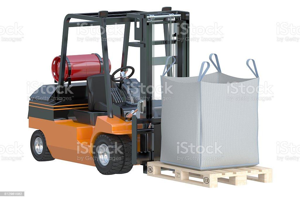 Forklift truck with bulk bag stock photo