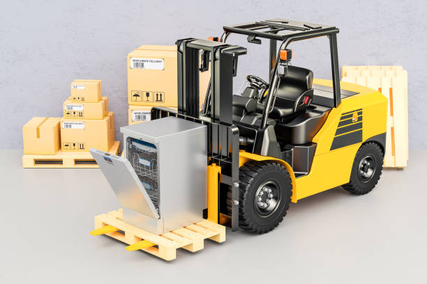 forklift truck with dishwasher. appliance delivery, 3d rendering - commercial dishwasher stock photos and pictures