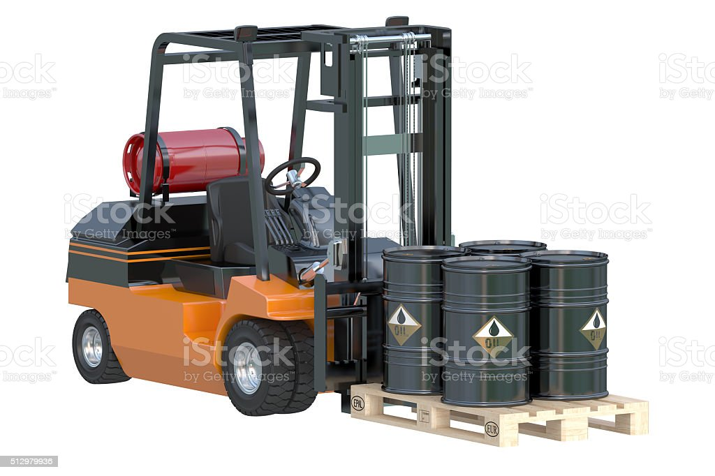 Forklift truck with oil barrels stock photo