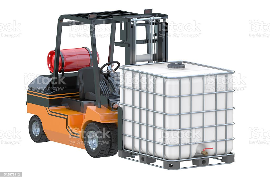 Forklift truck with white water tank on pallet stock photo