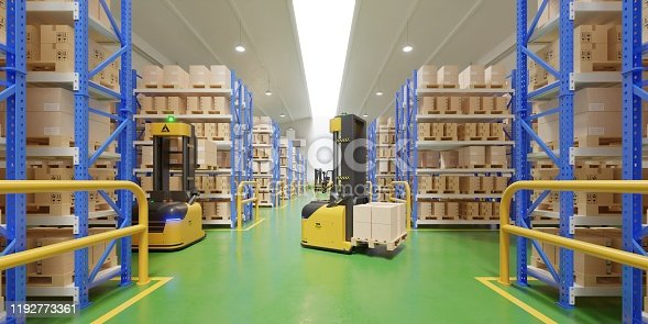 istock AGV Forklift Trucks-Transport More with Safety in warehouse. 1192773361