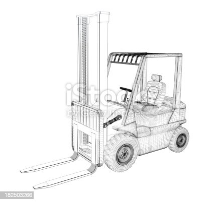 Forklift Wire Frame Stock Photo & More Pictures of Construction ...