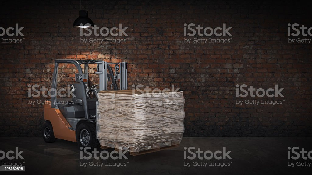 Forklift with building materials stock photo