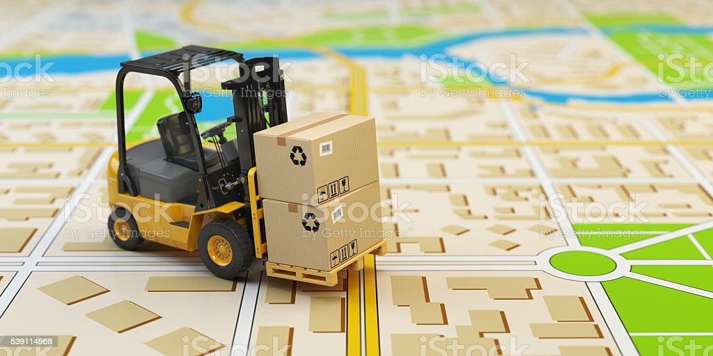 Forklift with cardboard boxes on the city map. Cargo delivery stock photo