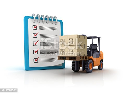 istock Forklift with CheckList Clipboard - 3D Rendering 641778522