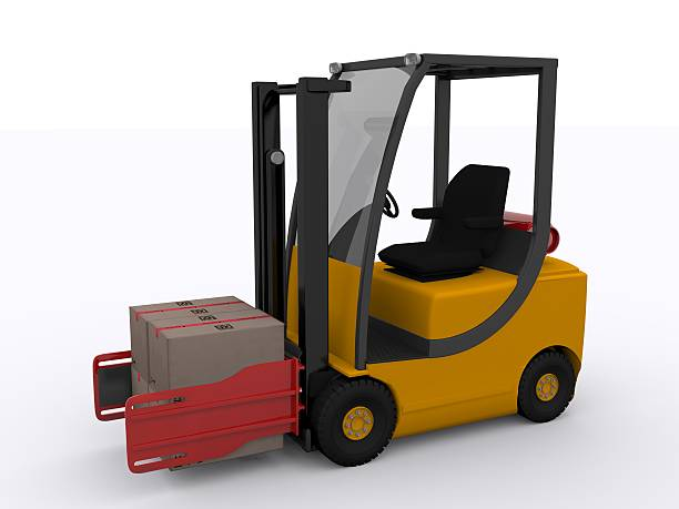 forklift with clamp stock photo