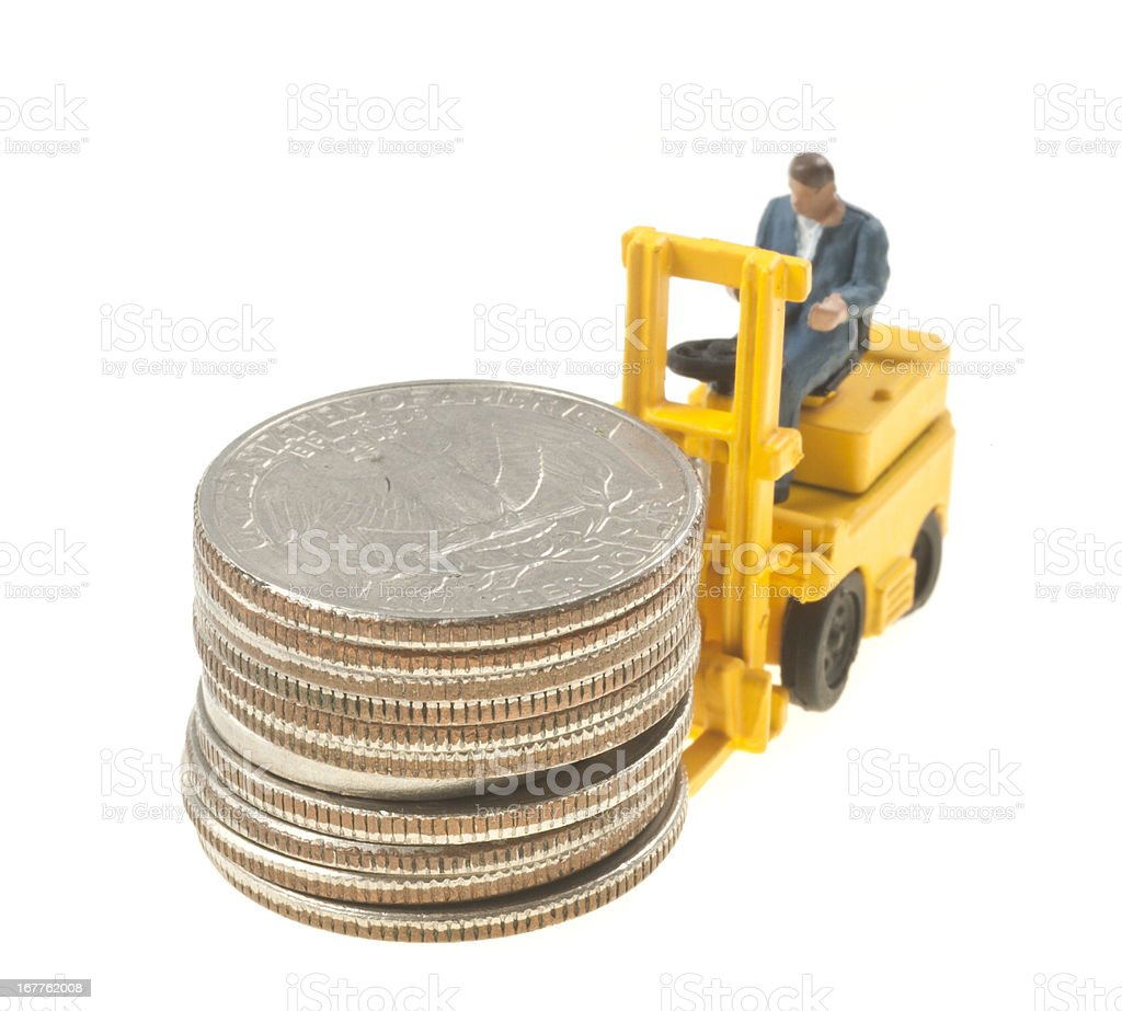 Forklift with dollars abstract, unusual picture royalty-free stock photo