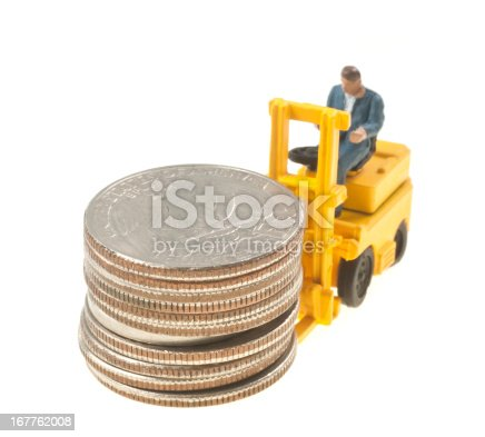Forklift with dollars