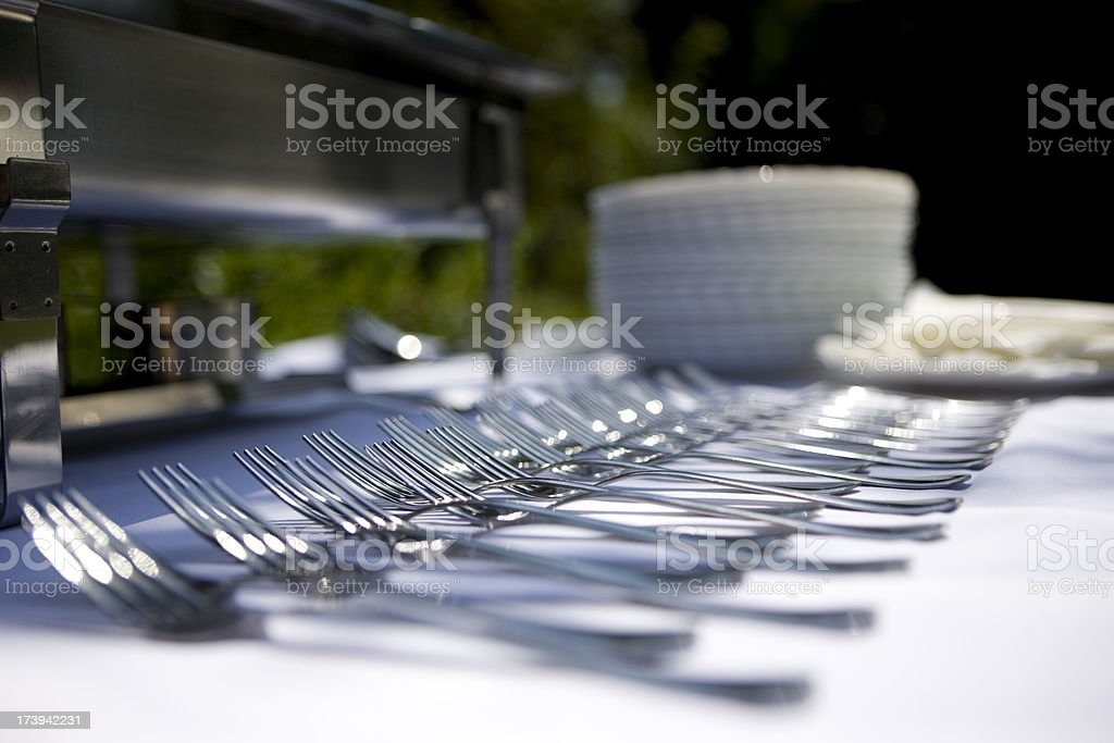 Forks in a row royalty-free stock photo