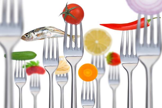 forks - silberzwiebeln stock-fotos und bilder