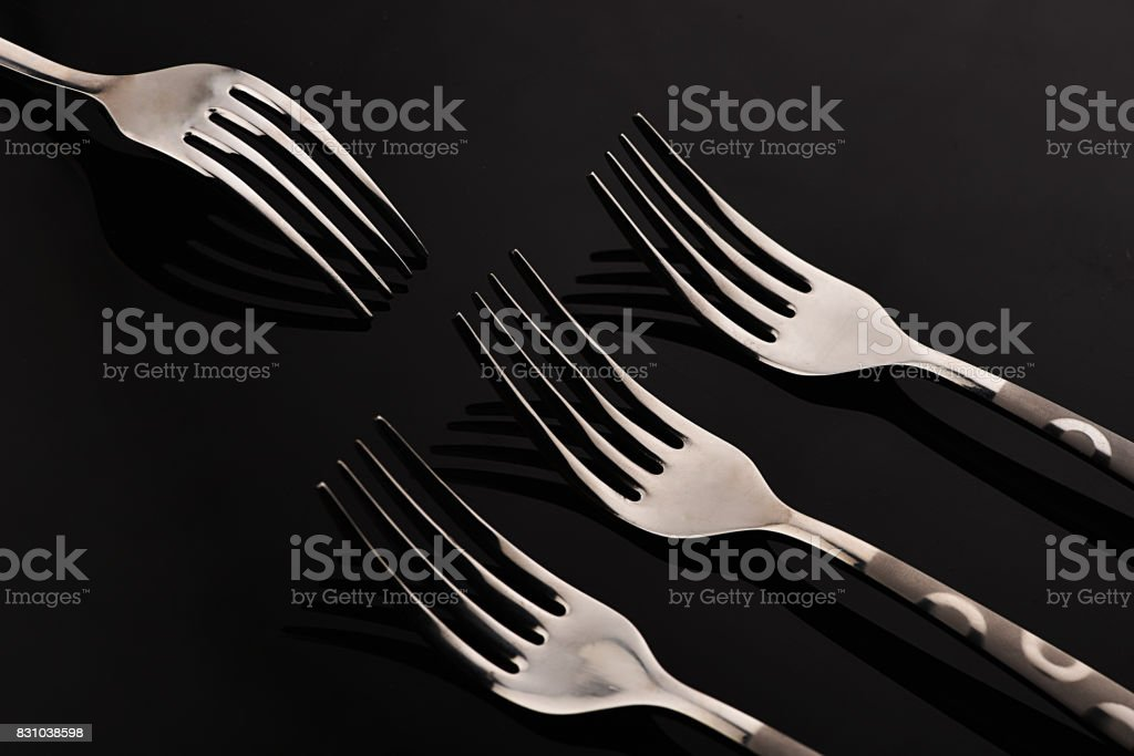 Forksy Stainless Steel Forks Eating Utensil Stock Photo