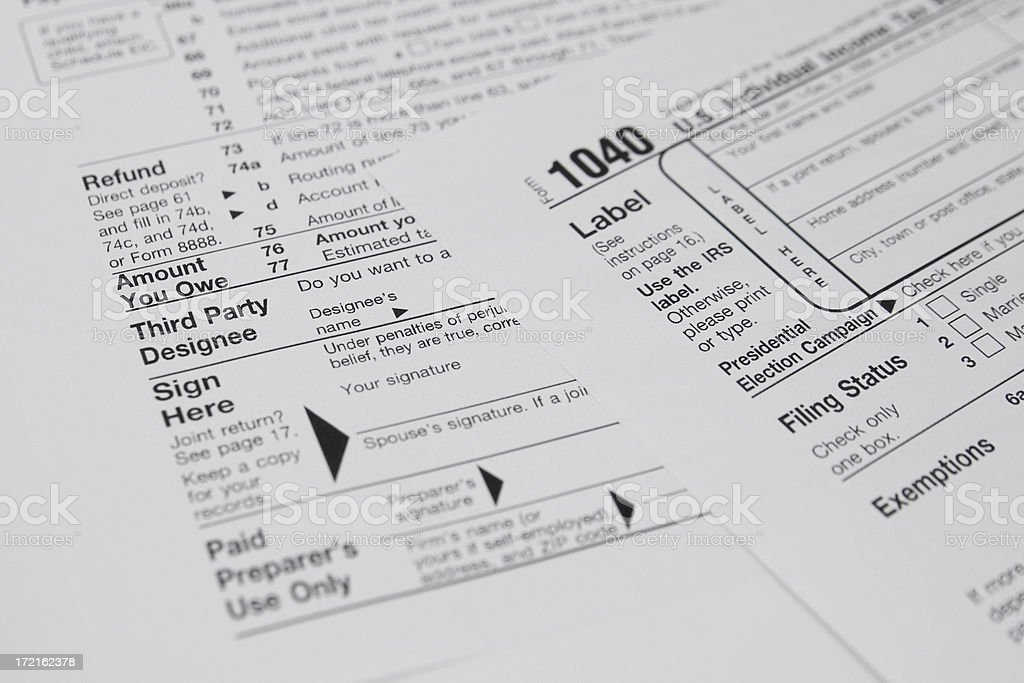 Irs Form 1040 Sign Here Stock Photo More Pictures Of 1040 Tax Form