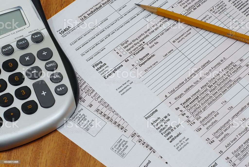 IRS Form 1040A stock photo