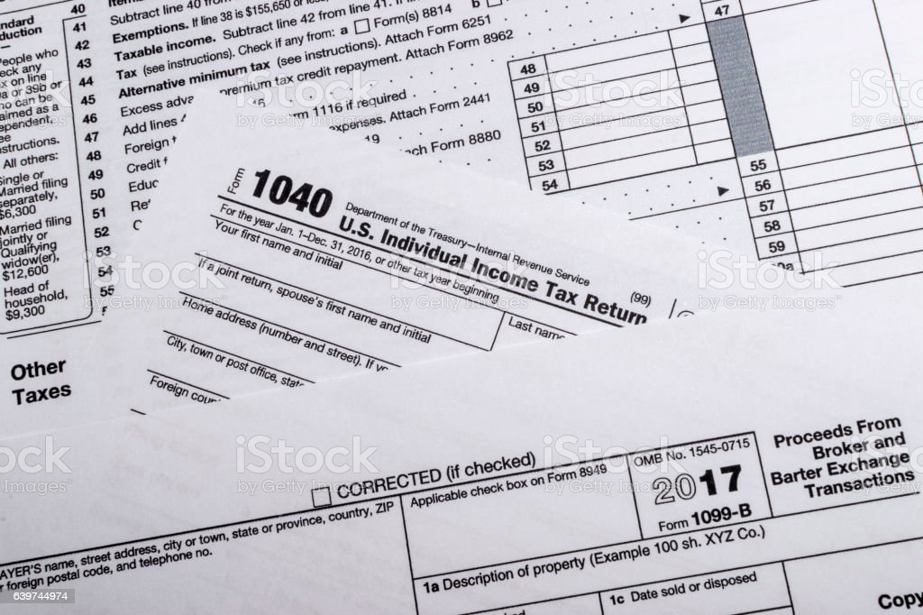 IRS Form 1099-B stock photo
