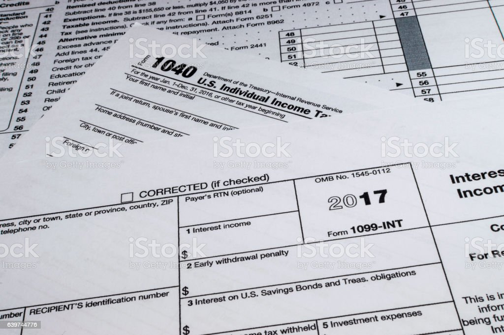 Irs Form 1099int Stock Photo More Pictures Of Currency Istock