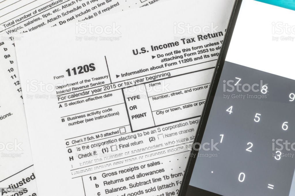 IRS Form 1120S Small Corporation Income Tax Return stock photo
