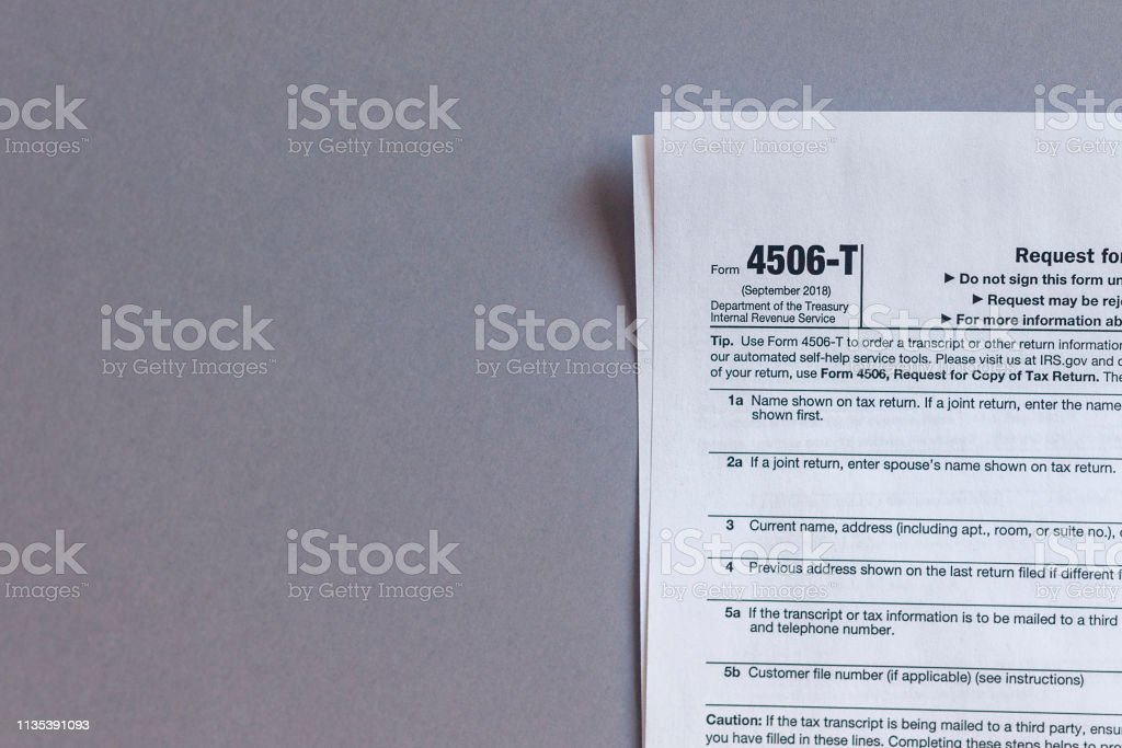 Irs Form 4506t Request For Tax Transcript Stock Photo