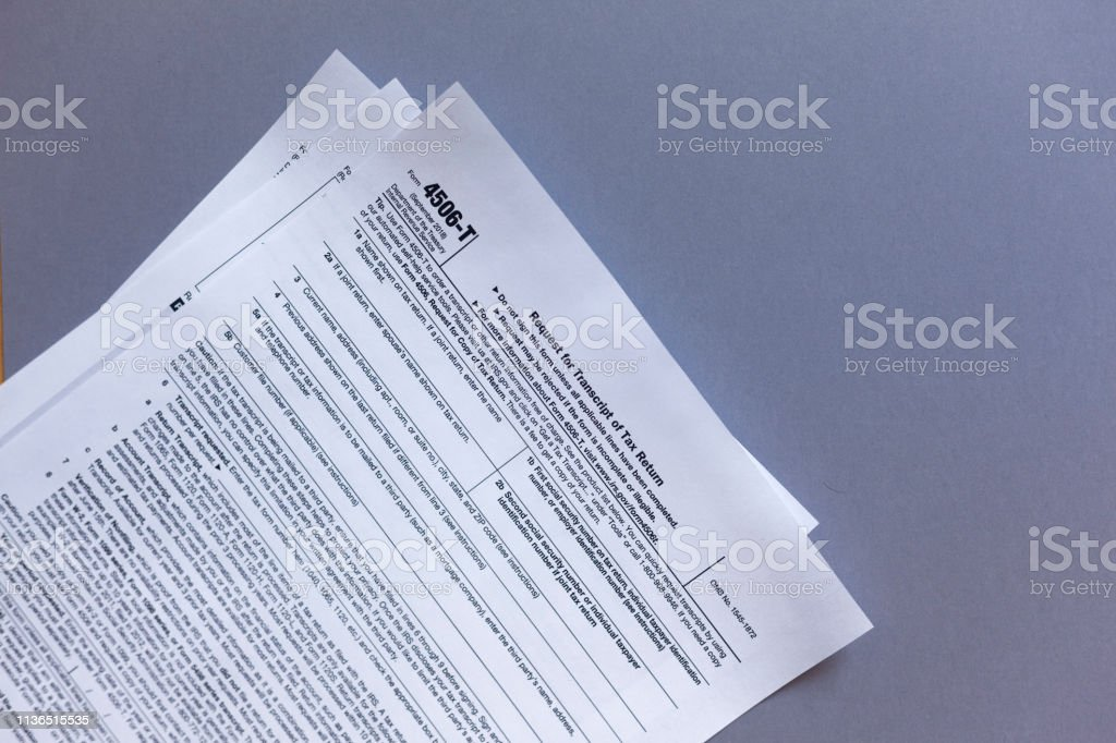 4506 t form march 2019  Irs Form 13t Request For Tax Transcript Stock Photo ...