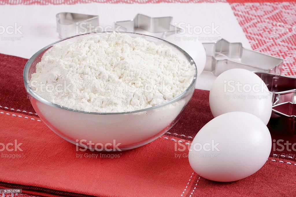 Form for baking, flour and eggs. We prepare cookies. royalty-free stock photo