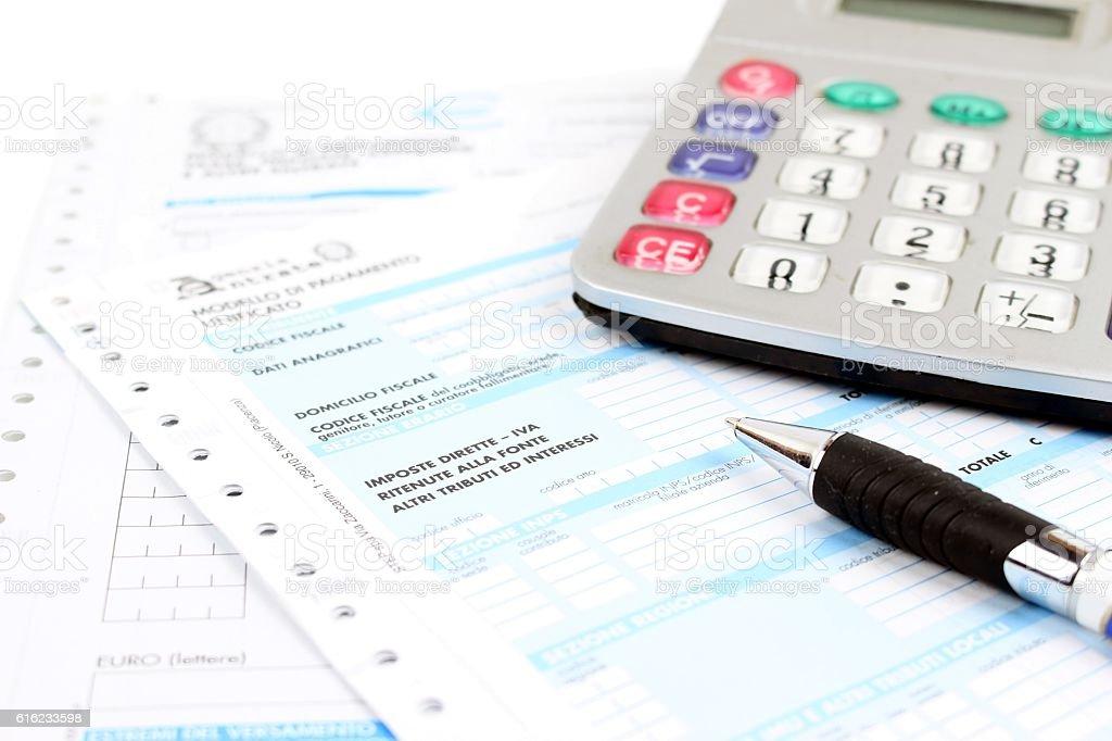 Form for Italian taxes stock photo