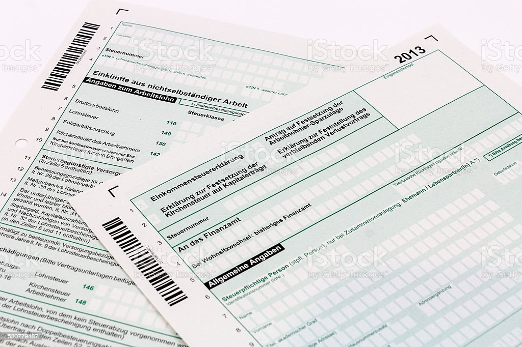 Form of income tax return stock photo