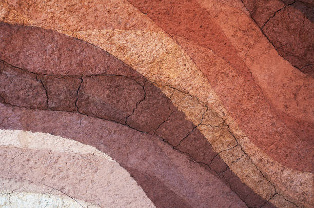 form of soil layers,its colour and textures - crosta geologia foto e immagini stock