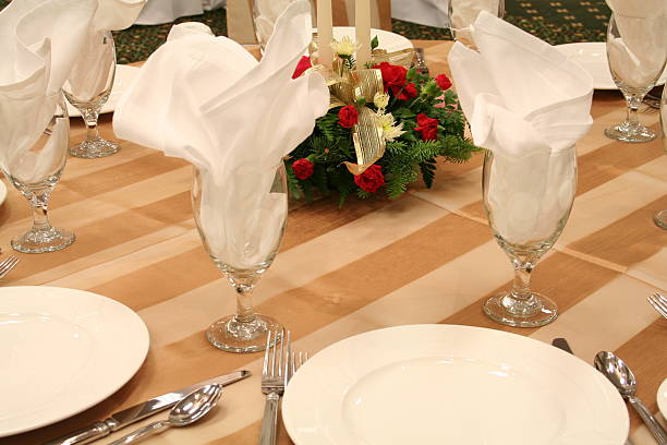 Formal Banquet Table Setting stock photo
