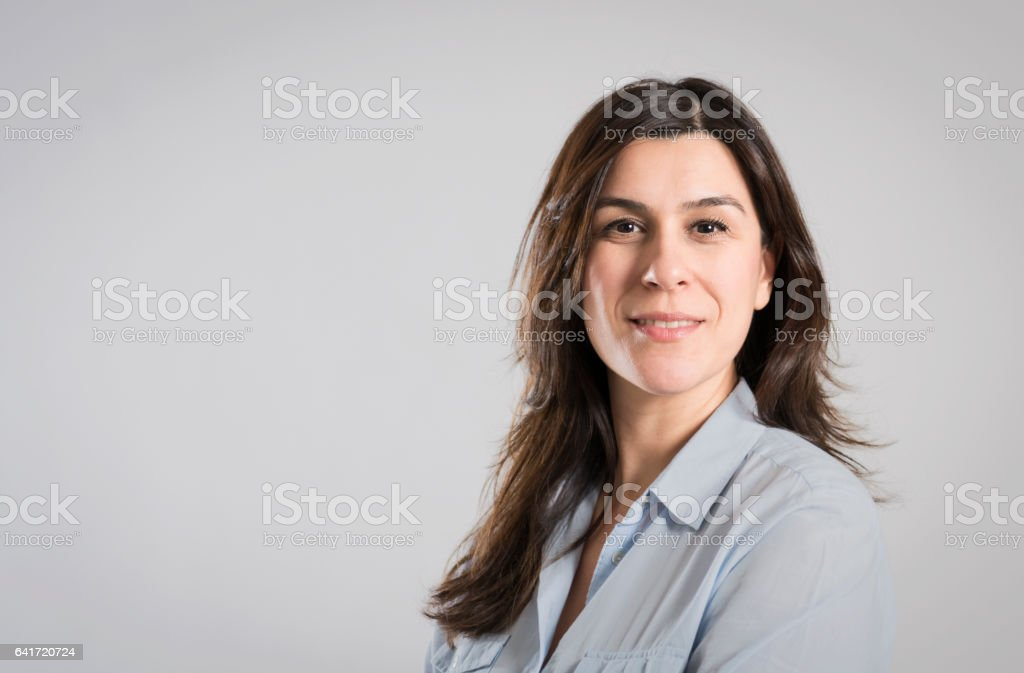 formal corporate portrait of a businesswoman stock photo