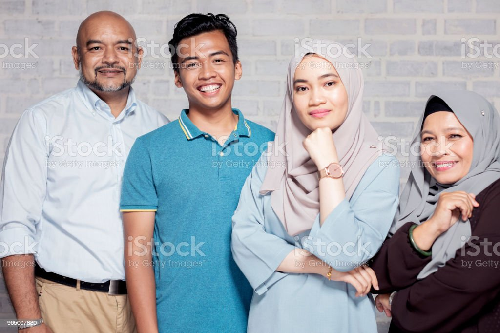 Formal family portrait of family with children stock photo