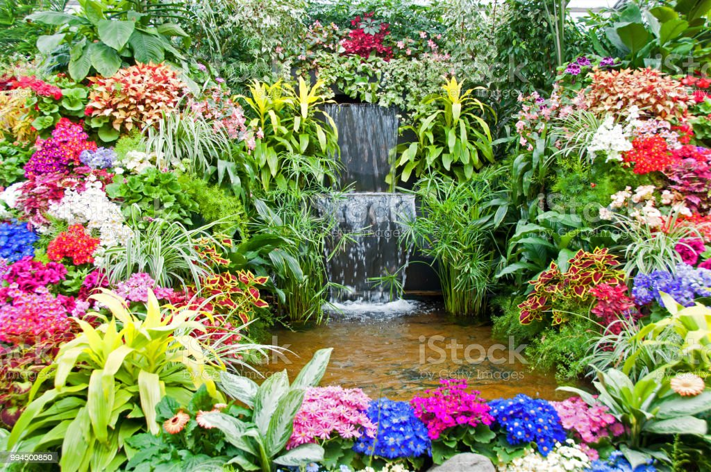 Formal Flower Garden Water Feature With Pond Stock Photo ...