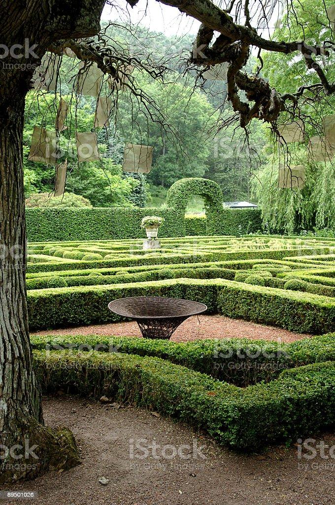 Formal garden in dusk. royaltyfri bildbanksbilder