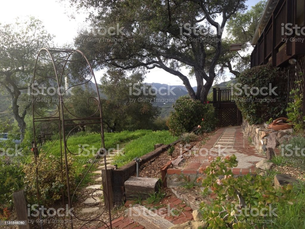 Formal Garden On A Hill With Steps And Gate Stock Photo ...