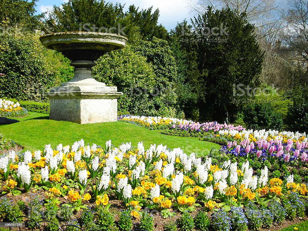Formal Garden Urns and Spring Flowers Bath England stock photo