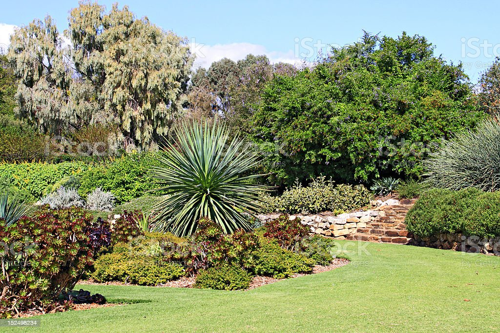 Formal Garden with Beds of Succulent Plants royalty-free stock photo
