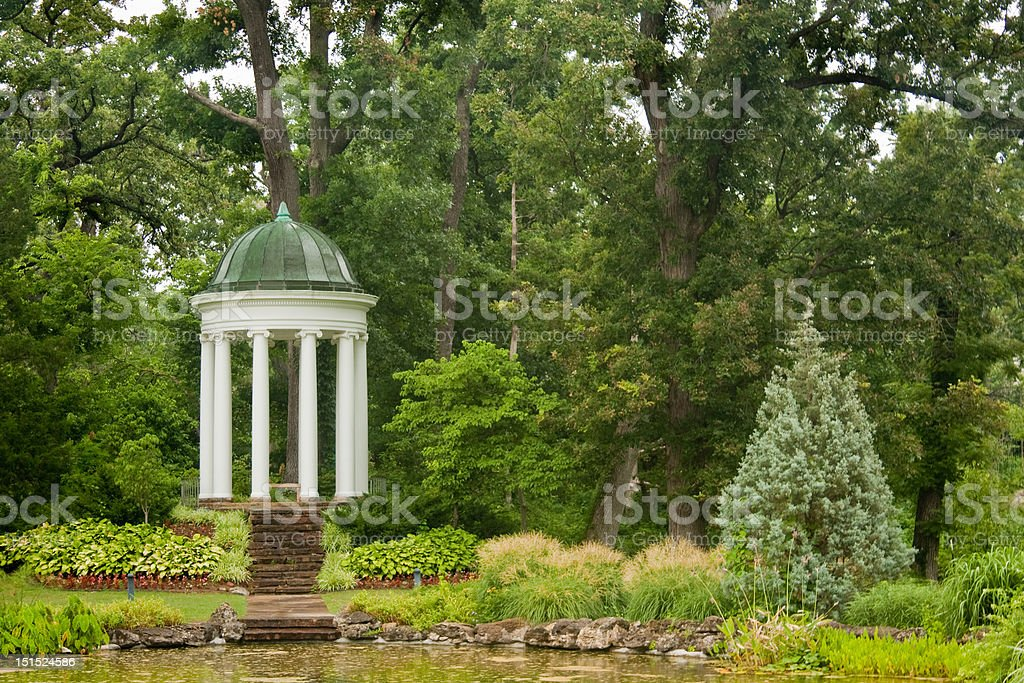 Formal Gazebo Overlooking a Pond royalty-free stock photo
