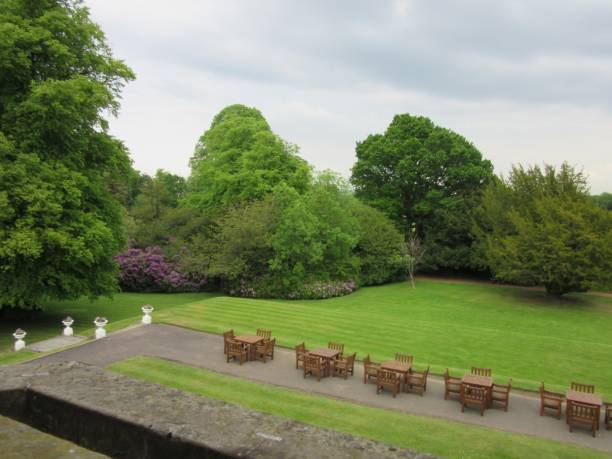 Formal grounds of an estate with trees stock photo