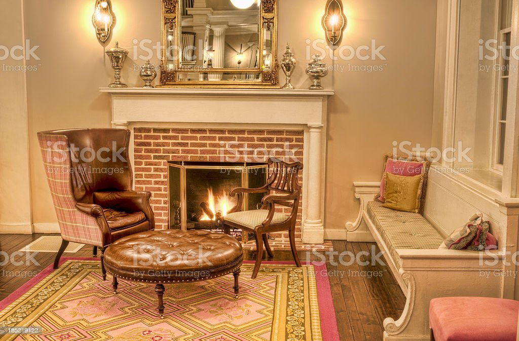 Charmant Formal Living Room With Fireplace And Antique Furniture   IV Royalty Free  Stock Photo
