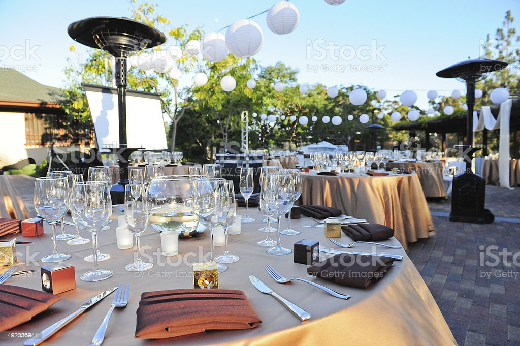 Formal Outdoor Dinner Venue stock photo