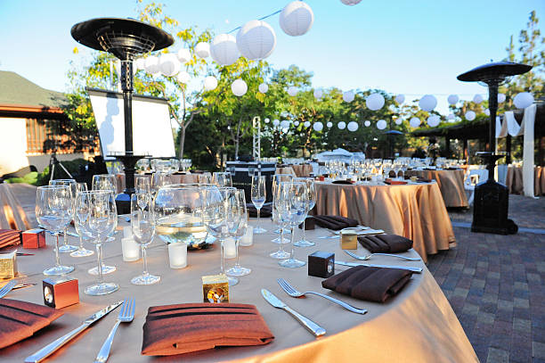 formal outdoor dinner venue - entertainment building stock pictures, royalty-free photos & images