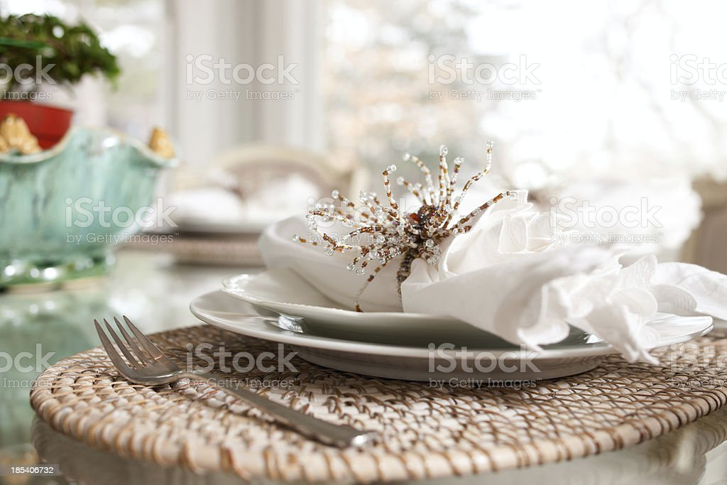 Formal plate setting and napkin arrangement. royalty-free stock photo