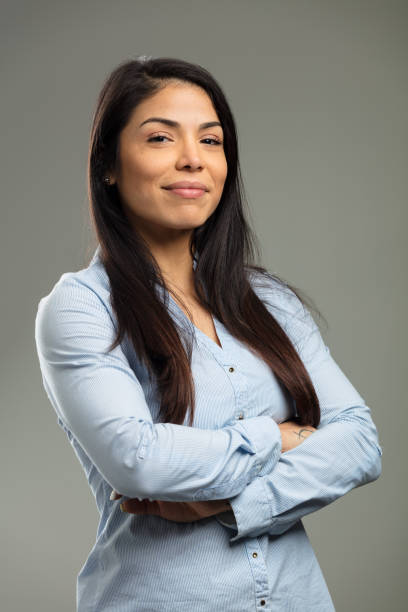 formal portrait of confident businesswoman - halbergman stock pictures, royalty-free photos & images
