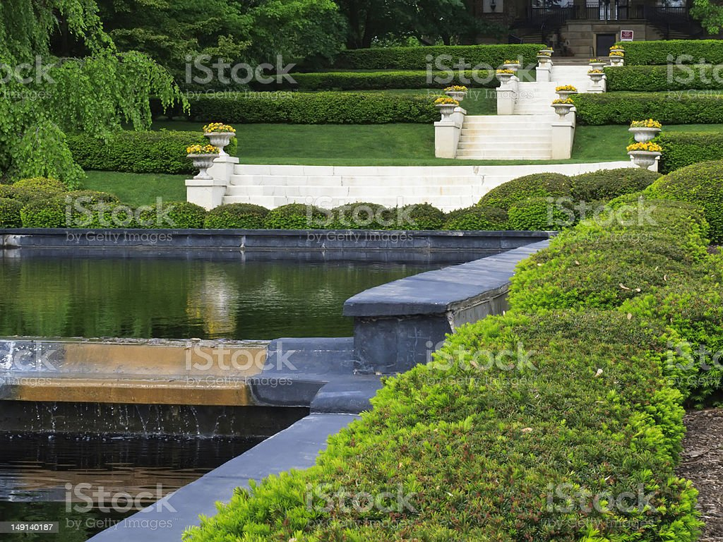 Formal public grounds of onetime country estate in springtime royalty-free stock photo